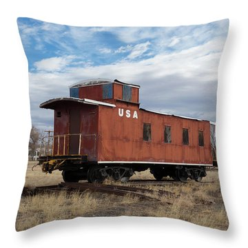 Caboose Hugo Union Pacific Railroad Roundhouse Throw Pillow