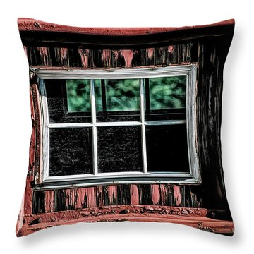 Throw Pillow featuring the photograph Caboose Window by Brad Allen Fine Art
