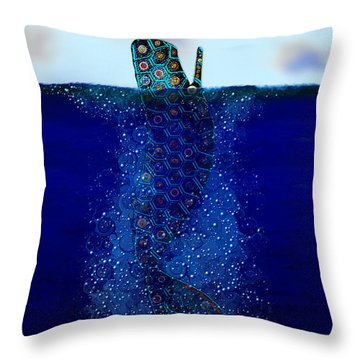 Throw Pillow featuring the digital art Cachalot Dreadnought And The Airship by Iowan Stone-Flowers