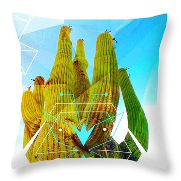 Throw Pillow featuring the mixed media Cacti Embrace by Michelle Dallocchio