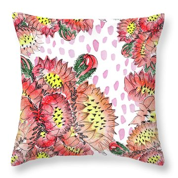 Cacti Flowers Throw Pillow