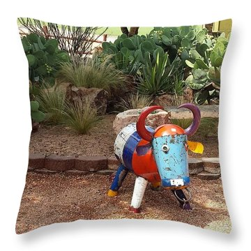 Cacti Garden At Wildseed Farms Throw Pillow by Suzanne Theis