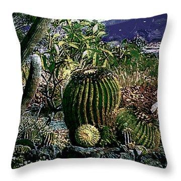 Throw Pillow featuring the photograph Cacti by Lori Seaman