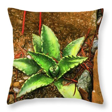 Throw Pillow featuring the digital art Cacti Moods In Technicolor by Terry Cork