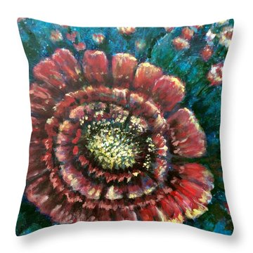 Throw Pillow featuring the painting Cactus # 2 by Laila Awad Jamaleldin