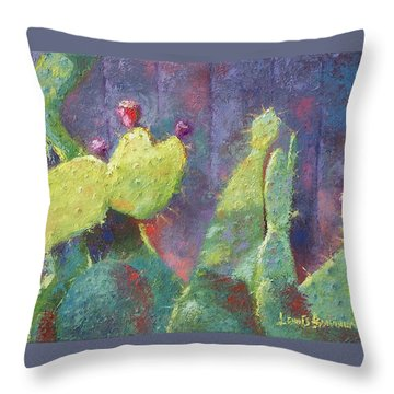 Prickly Pear Cactus Against Fence Throw Pillow
