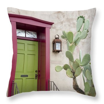 Cactus And Doorway Throw Pillow by Elvira Butler