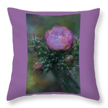 Cactus Bloom Throw Pillow by Carolyn Dalessandro