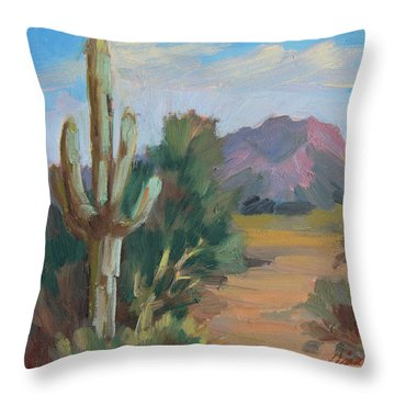 Throw Pillow featuring the painting Cactus By The Red Mountains by Diane McClary