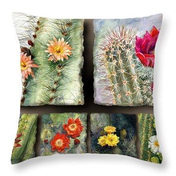 Throw Pillow featuring the painting Cactus Collage 10 by Marilyn Smith