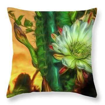 Cactus Flower At Sunrise Throw Pillow