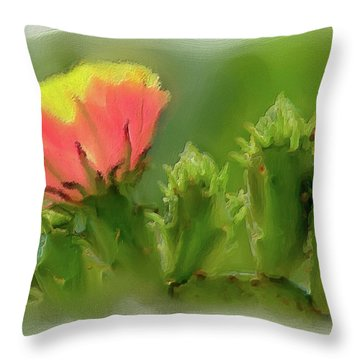 Throw Pillow featuring the painting Cactus Flower On A Cactus Plant Ap by Dan Carmichael