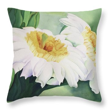 Throw Pillow featuring the painting Cactus Flower by Teresa Beyer