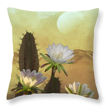 Cactus Flowers At Sunrise Throw Pillow