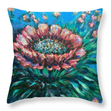Throw Pillow featuring the painting Cactus Flowers by Laila Awad Jamaleldin