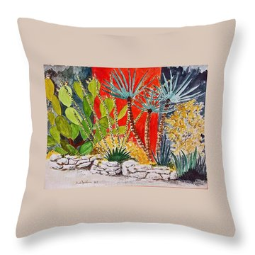 Cactus Garden  Throw Pillow by Fred Jinkins