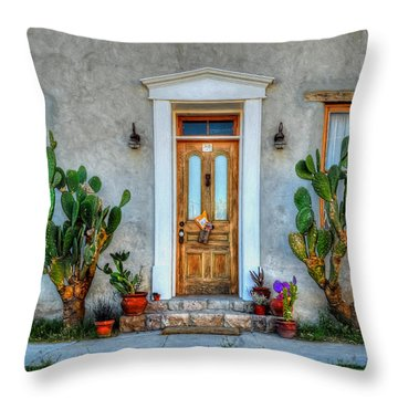 Throw Pillow featuring the photograph Cactus Guards by Ken Smith