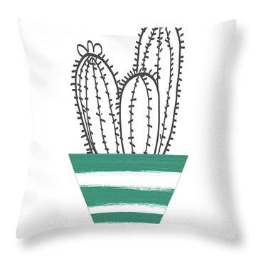 Cactus In A Green Pot- Art By Linda Woods Throw Pillow
