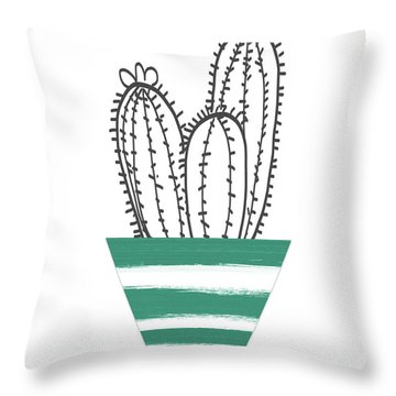 Throw Pillow featuring the mixed media Cactus In A Green Pot- Art By Linda Woods by Linda Woods