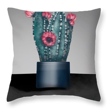 Cactus In Bloom I  Throw Pillow