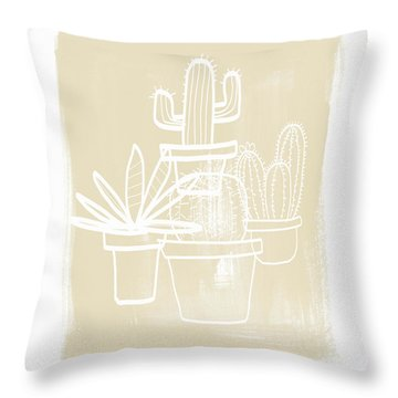 Cactus In Pots- Art By Linda Woods Throw Pillow