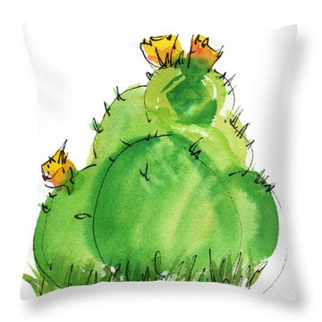 Cactus In The Yellow Flower Watercolor Painting By Kmcelwaine Throw Pillow by Kathleen McElwaine