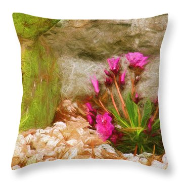 Throw Pillow featuring the digital art Cactus Lines by Terry Cork