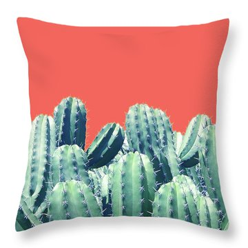 Cactus On Coral Throw Pillow