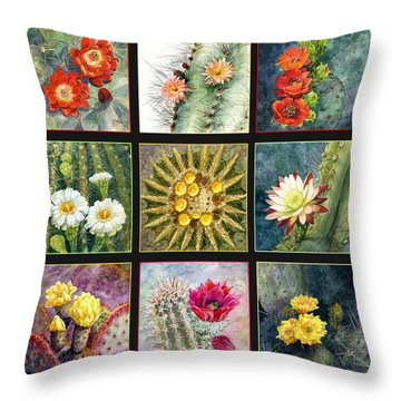Throw Pillow featuring the painting Cactus Series by Marilyn Smith