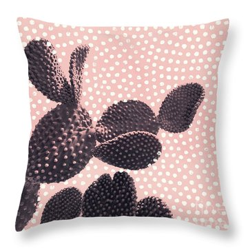 Cactus With Polka Dots Throw Pillow