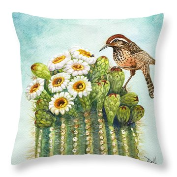 Throw Pillow featuring the painting Cactus Wren And Saguaro by Marilyn Smith