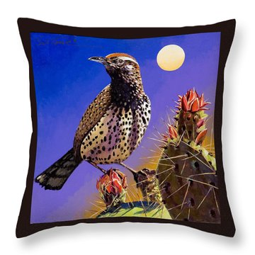 Throw Pillow featuring the painting Cactus Wren by Bob Coonts