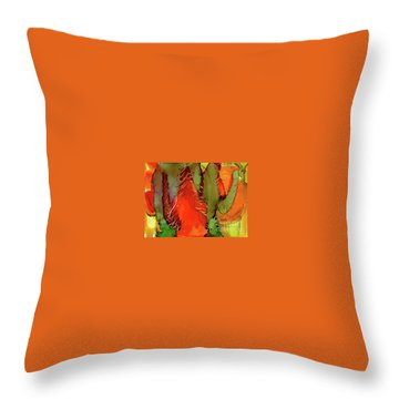 Throw Pillow featuring the painting Cactus by Yolanda Koh