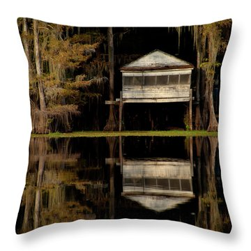 Caddo Lake Boathouse Throw Pillow
