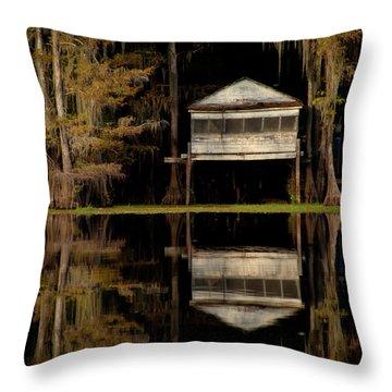 Caddo Lake Boathouse Throw Pillow