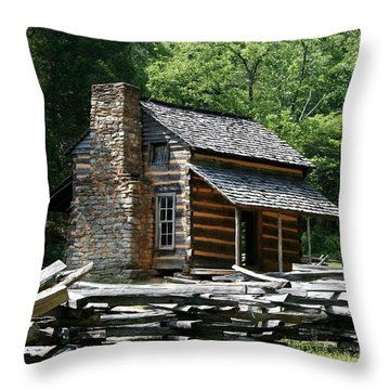 Throw Pillow featuring the photograph Cade's Cove Cabin by John Black