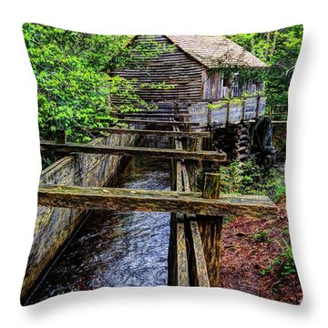 Cades Cove Grist Mill In The Great Smoky Mountains National Park  Throw Pillow