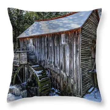 Cades Cove Grist Mill In Winter Throw Pillow
