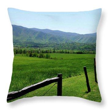 Cades Cove View Throw Pillow by Nancy Mueller