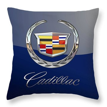 Cadillac 3 D  Badge Special Edition On Blue Throw Pillow
