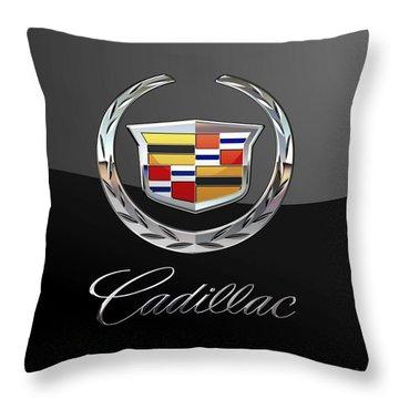 Cadillac - 3 D Badge On Black Throw Pillow