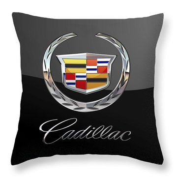 Cadillac - 3 D Badge On Black Throw Pillow by Serge Averbukh