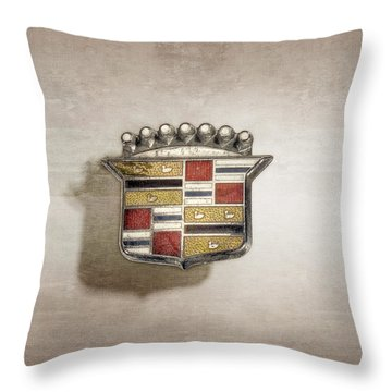 Cadillac Badge Throw Pillow by YoPedro