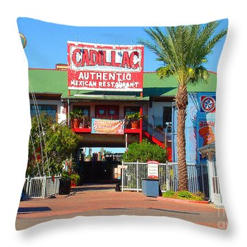 Cadillac Bar Throw Pillow by Fred Jinkins