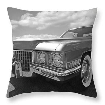 Cadillac Coupe De Ville 1971 In Black And White Throw Pillow