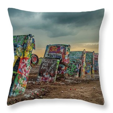 Cadillac Ranch Before The Rain Throw Pillow