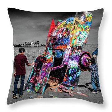 Throw Pillow featuring the photograph Cadillac Ranch Spray Paint Fun Along Historic Route 66 By Amarillo Texas by Randall Nyhof
