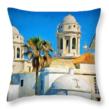 Cadiz Cathedral Throw Pillow by Sue Melvin