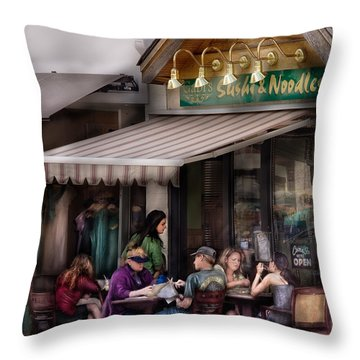 Cafe - Westfield Nj - Gabi's Sushi And Noodles Throw Pillow by Mike Savad