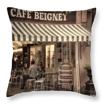 Cafe Beignet 2 Throw Pillow